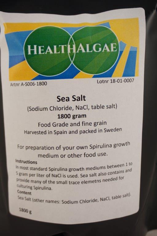 HealthAlgae - 1800 gram Sea salt - food grade for Spirulina cultivation or food preparation - www.healthalgae.com clean Spirulina grown and produced in Sweden with Swedish quality standards