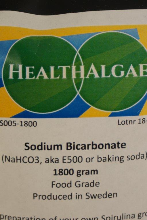 HealthAlgae - 1800 gram Sodium bicarbonate, baking soda, E500.0 - Grow your own Spirulina at home - www.healthalgae.com growing and producing clean Spirulina for humans and animals too eat - also selling Spirulina cultures