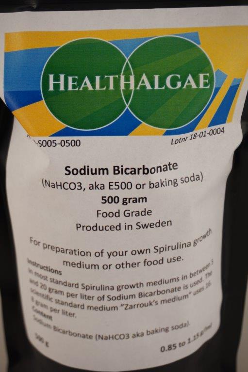 HealthAlgae - 500 gram Sodium bicarbonate, baking soda, E500 - www.healthalgae.com grow your own Spirulina - Clean Spirulina grown and produced in Sweden