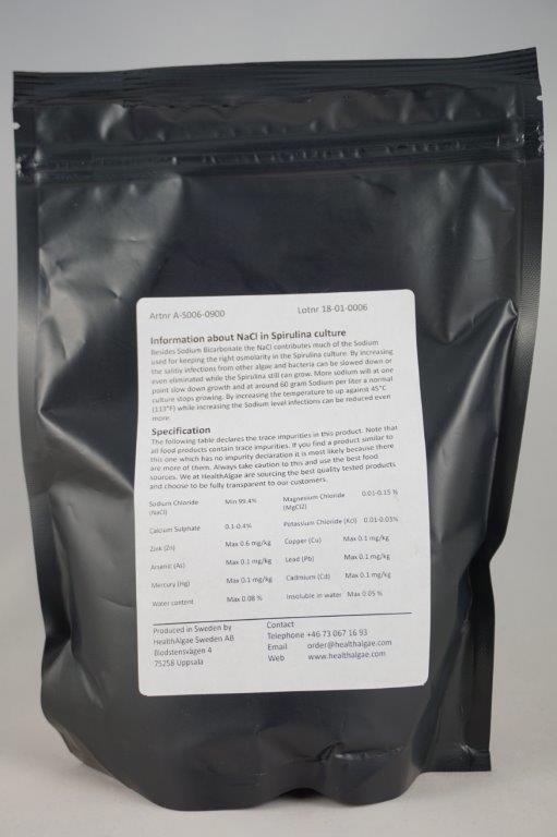 HealthAlgae - 900 gram Sea salt - food grade for Spirulina cultivation or food preparation - www.healthalgae.com clean Spirulina products grown and produced in Sweden - healthy algae - health algae
