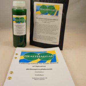 Fresh and Living Spirulina  platensis algae start culture (250 ml) + 10 L dry grow medium SSD1+2 – Spirulina starter kit – Start kit for growing Spirulina