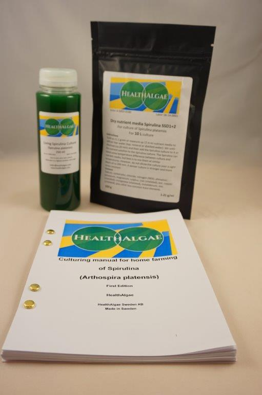 HealthAlgae Spirulina platensis starter culture 250 ml + 10L medium - www.healthalgae.com clean Spirulina grown and produced in Sweden
