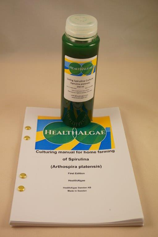 HealthAlgae Spirulina platensis starter culture 250 ml with grow manual - www.healthalgae.com