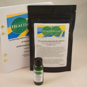Fresh and Living Spirulina platensis start culture (30 ml) + 10 L dry grow medium SSD1+2 – Spirulina starter kit – Start kit for growing Spirulina