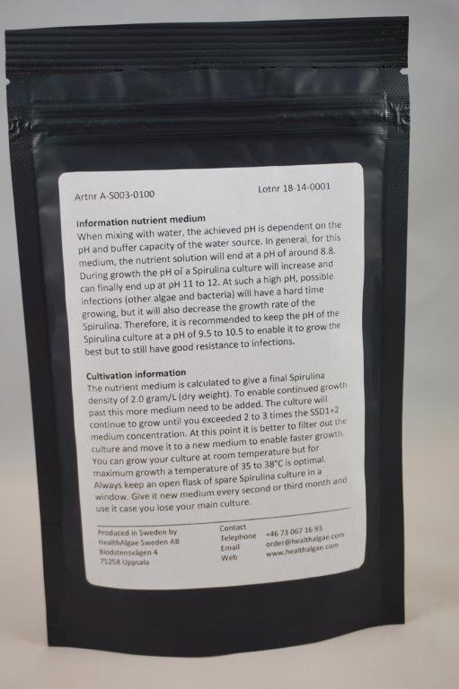 HealthAlgae Spirulina platensis starter culture 30 ml and 10L medium2