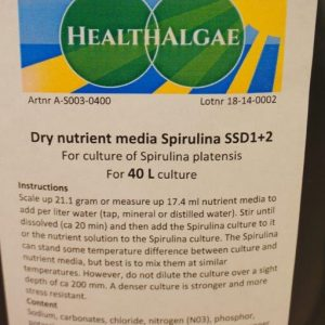 Spirulina platensis 40 L dry grow medium SSD1+2