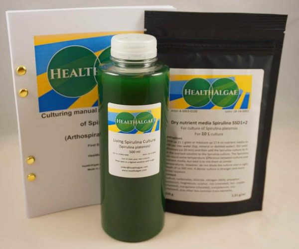 HealthAlgae Spirulina platensis starter culture 500 ml + 10L grow medium - www.healthalgae.com clean Spirulina grown and produced in Sweden